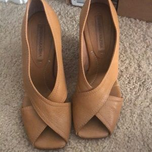 Size 6 1/2 Leather wedges BCBGMaxaria